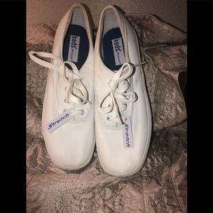 Ked's Original White Stretch Leather Sneakers NWT